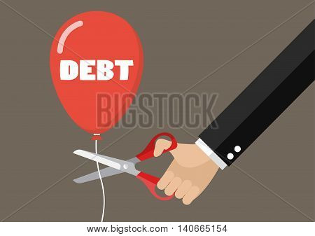 Big hand cutting debt balloon string with scissors. Business concept