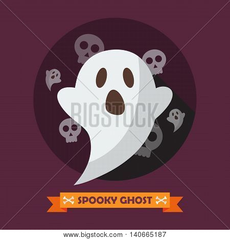 Spooky ghost greeting card. Halloween Vector illustration
