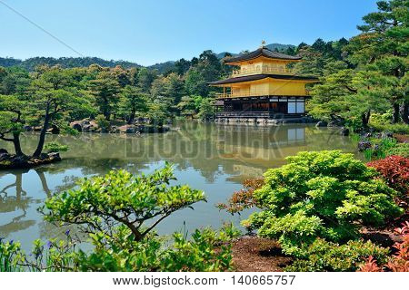 Kinkaku-ji temple with historical building in Kyoto, Japan.