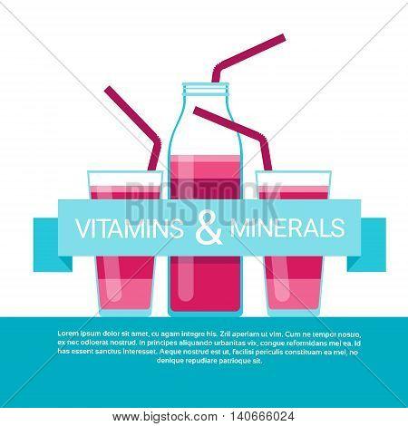 Vitamins Cocktail Bottle Essential Chemical Elements Nutrient Minerals Flat Vector Illustration