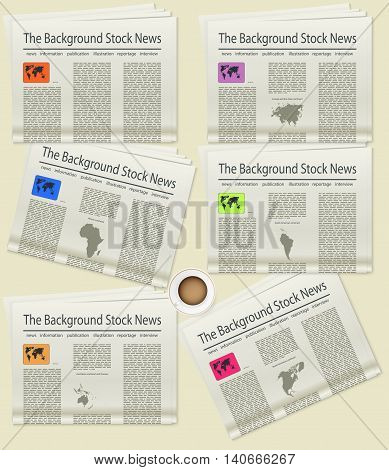 Set Newspaper. World map. Realistic image of the object. Vector illustration