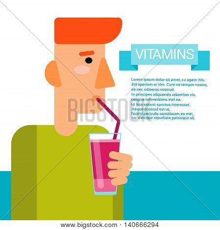 Man Drink Vitamins Cocktail Bottle Essential Chemical Elements Nutrient Minerals Flat Vector Illustration