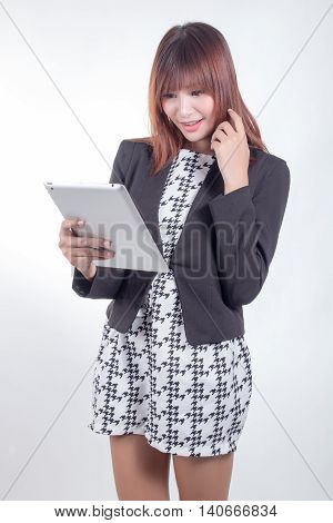 Business Woman Holding Tablet Pc With Touchpad. Young Mixed Race Asian Caucasian Woman Professional