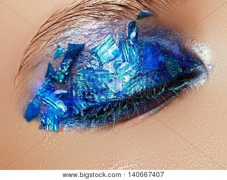 Cosmetics And Make-up. Closeup Macro Shot Of Fashion Sparcle Vis