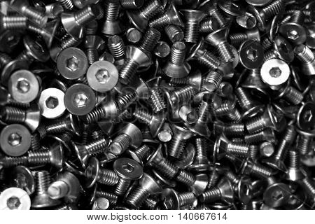close up group of screws in the warehouse
