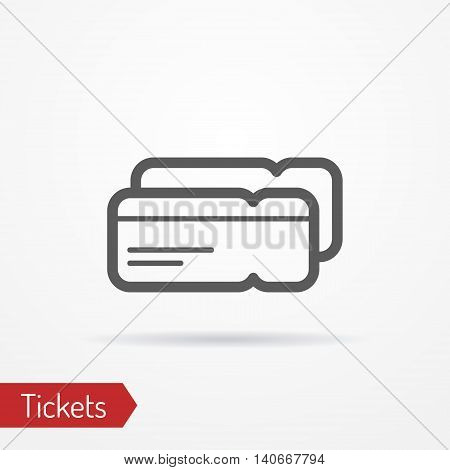Abstract simplistic ticket icon in silhouette line style with shadow. Plane or train boarding pass. Travel vector stock image.