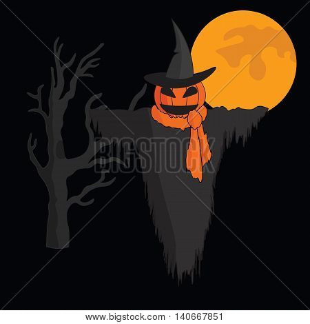 Cute cartoon Scarecrow with witch hat and a scarf on black background with moon and tree.
