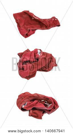 Crumpled red female panties isolated over the white background, set of three different foreshortenings