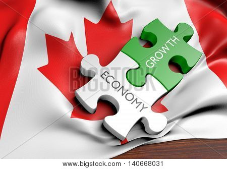 Canada economy and financial market growth concept, 3D rendering