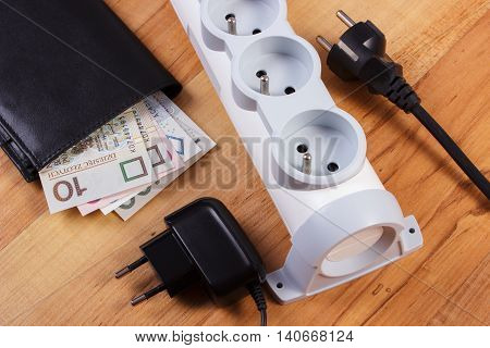Electrical Power Strip With Plugs And Polish Currency Money, Energy Costs