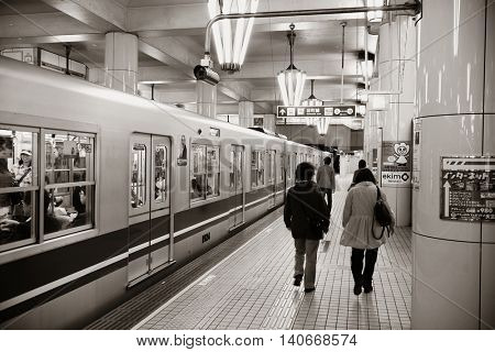 OSAKA, JAPAN - MAY 11: Subway station interior on May 11, 2013 in Osaka. With nearly 19 million inhabitants, Osaka is the second largest metropolitan area in Japan after Tokyo.