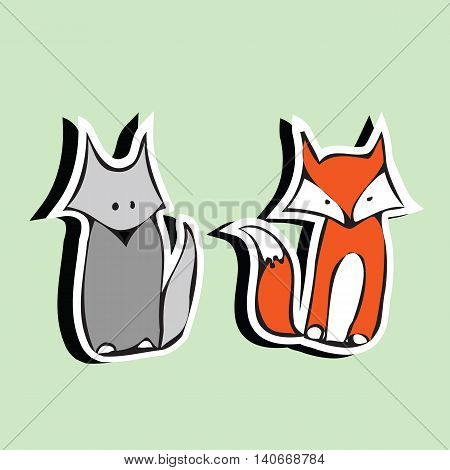 Funny cartoon abstract cute stickers Fox and the wolf.