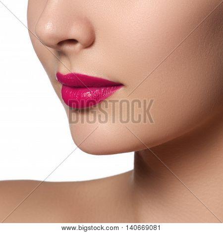 Sexy Lips. Beauty Pink Lips Makeup Detail. Beautiful Make-up Clo
