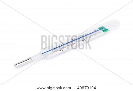 Mercury glass thermometer isolated over the white background