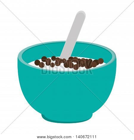 flat design cereal bowl icon vector illustration