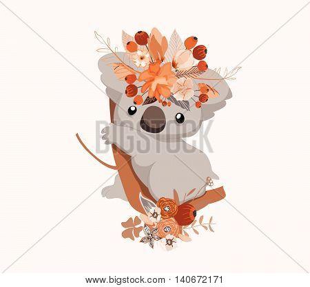 Cute card with lovely koala. Koala in a wreath of flowers