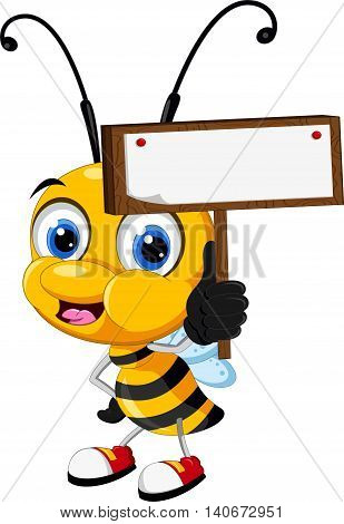 funny cartoon bee holding a blank sign