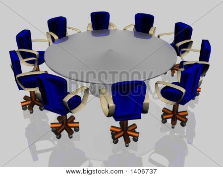 Ten Armchairs Behind A Round Glass Table