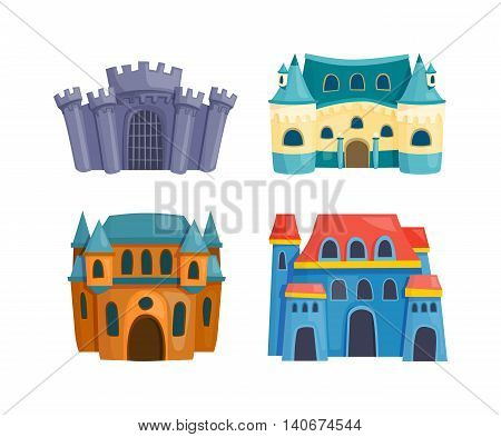 Cartoon fairy tale castle tower icon. Cute cartoon castle architecture. Vector illustration fantasy house fairytale medieval castle. Princess cartoon castle cartoon stronghold design fable isolated.