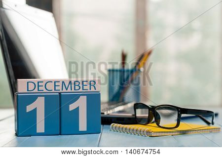 December 11th. Day 11 of month, calendar on Software Engineer workplace background. Winter concept. Empty space for text.
