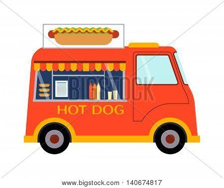 Street food festival color trailer labels , van restaurant. Cafe urban food truck trailer, mobile market, event and transport. Vector illustration food truck trailer, fast delivery service.