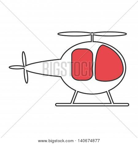 flat design single helicopter icon vector illustration