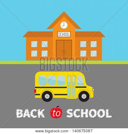Back to school banner set. School building with clock and windows. City construction. Yellow school bus kids on the road. Side view Cartoon education clipart collection Flat design Vector illustration