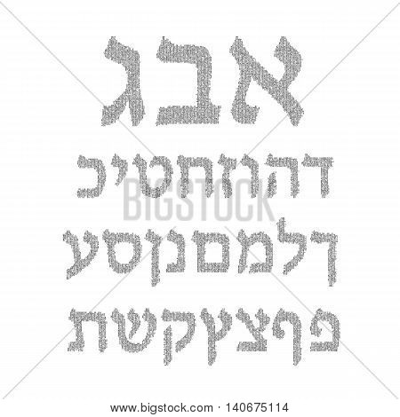 Hebrew alphabet. Font Vector illustration on isolated background