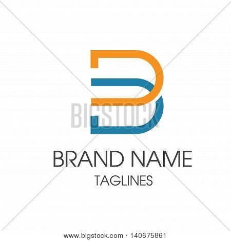 Line letter B logotype, B symbol creative vector sign