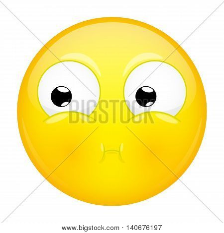 Sulk emoji. Bad emotion. Pout emoticon. Vector illustration smile icon.