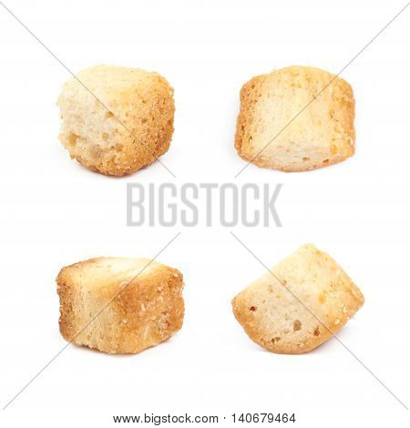 Single white bread garlic crouton isolated over the white background set of four different foreshortenings