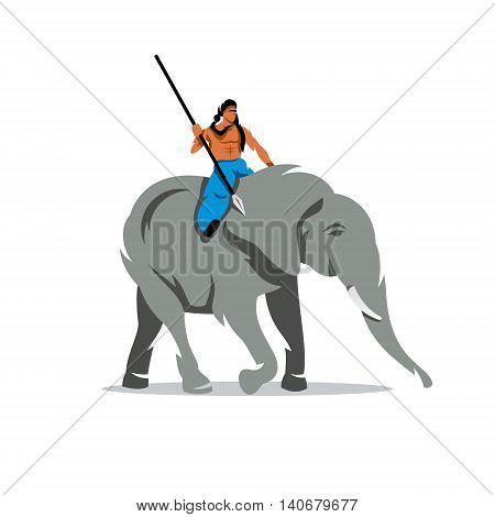 A man with a spear on horseback on a large animal. Isolated on a White Background
