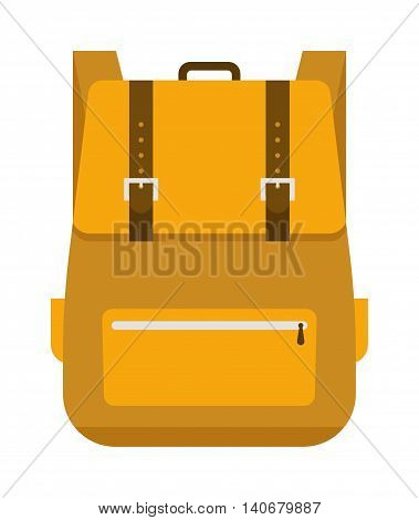 Kid school bag isolated on white background. Cartoon style school bag handle strap sack, textile rucksack. School bag children equipment. School supplies educational full schoolbag adventure.