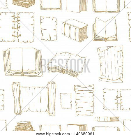 Seamless monochrome pattern of Hand Drawn Illustrations of Big Set Books manuscripts. Doodle vector illustration isolated on white background.