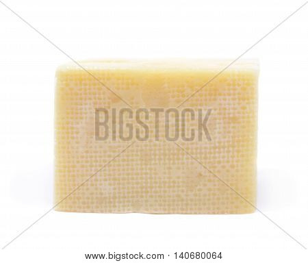 Piece of cheese isolated over the white background