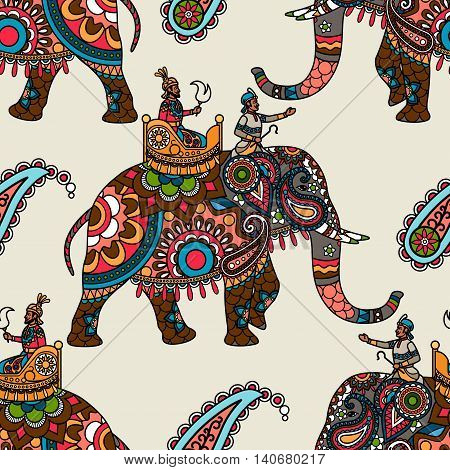 Indian maharadjah on the elephant colored seamless background. Vector illustration