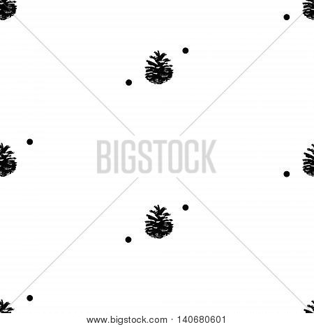 Pinecone Vector illustration. seamless pattern hand drawn