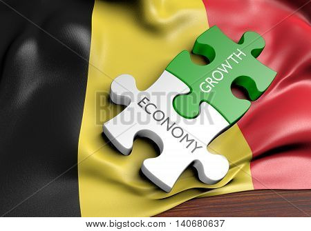Belgium economy and financial market growth concept, 3D rendering
