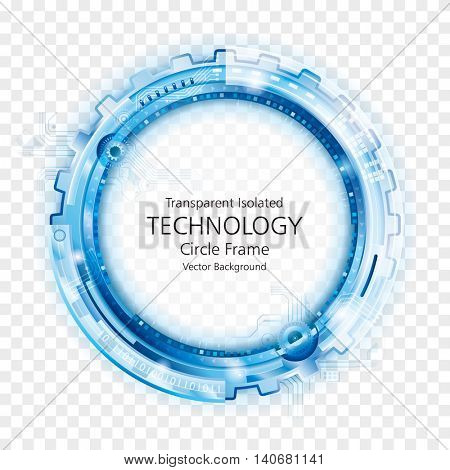 Transparent circular technology frame abstract background.