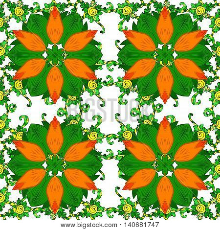 Seamless pattern with spring flowers. Cover background. Orange and green colors. Vector illustration.