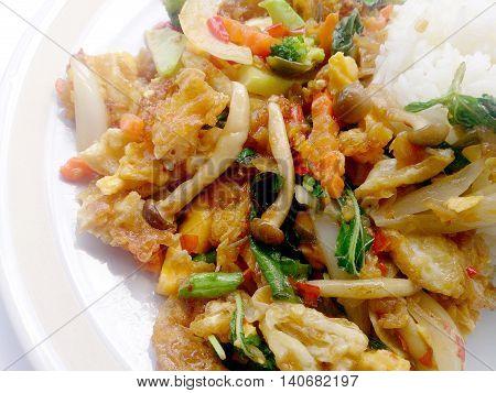 Vegetarian Food With Fried Egg, Vegetable And Light Soya Sauce & Thai Jasmine Rice, Healthy Food