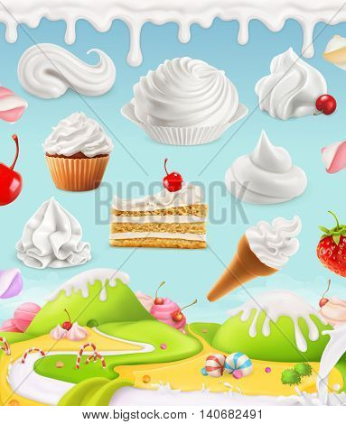 Whipped cream, milk, cream, ice cream, cake, cupcake, candy, mesh illustration