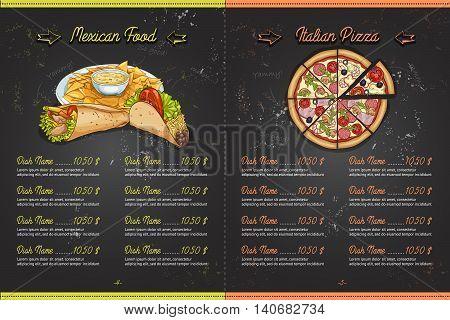 Drawing color horisontal menu design on blackboard, pages 4, 5. Vector illustration, EPS 10