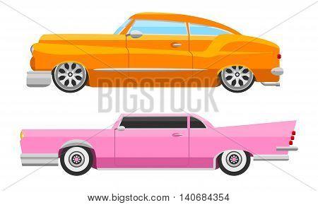 Retro cars icons vintage vector. Classic transportation auto vehicle retro car. Retro car nostalgia automobile old design. Graphic emblem race engine machine shop antique wheels collection