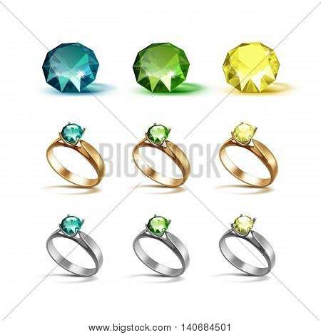 Vector Set of Gold and Siver Engagement Rings with Emerald Green and Yellow Shiny Clear Diamonds Isolated on White Background