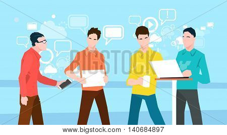 Business People Group Working Teamwork Coworking Office Flat Vector Illustration