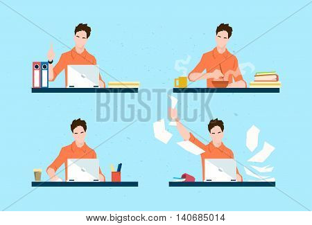 Casual Business Man Freelancer Working Day Routine Set Flat Vector Illustration
