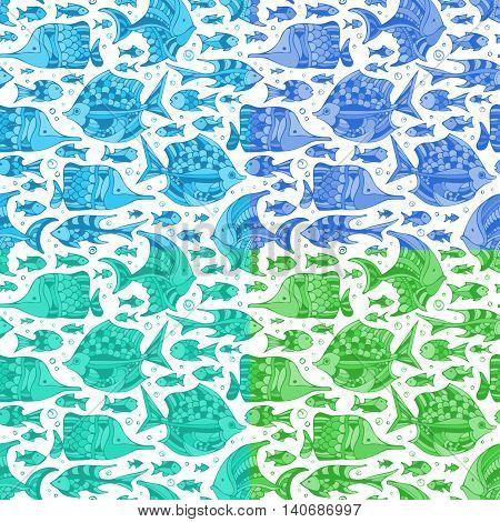 Vector Set Of Seamless Fish Patterns.