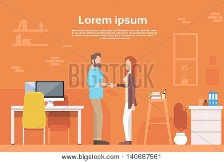 Casual Man Woman Shake Hand Modern Coworking Office Flat Vector Illustration