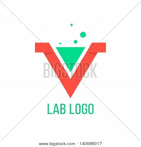 lab emblem like red v letter. concept of geometry, origami, curve typographic, triumph, win mark, inovation, angular vector, visual identity. flat style trendy modern brand design eps10 illustration